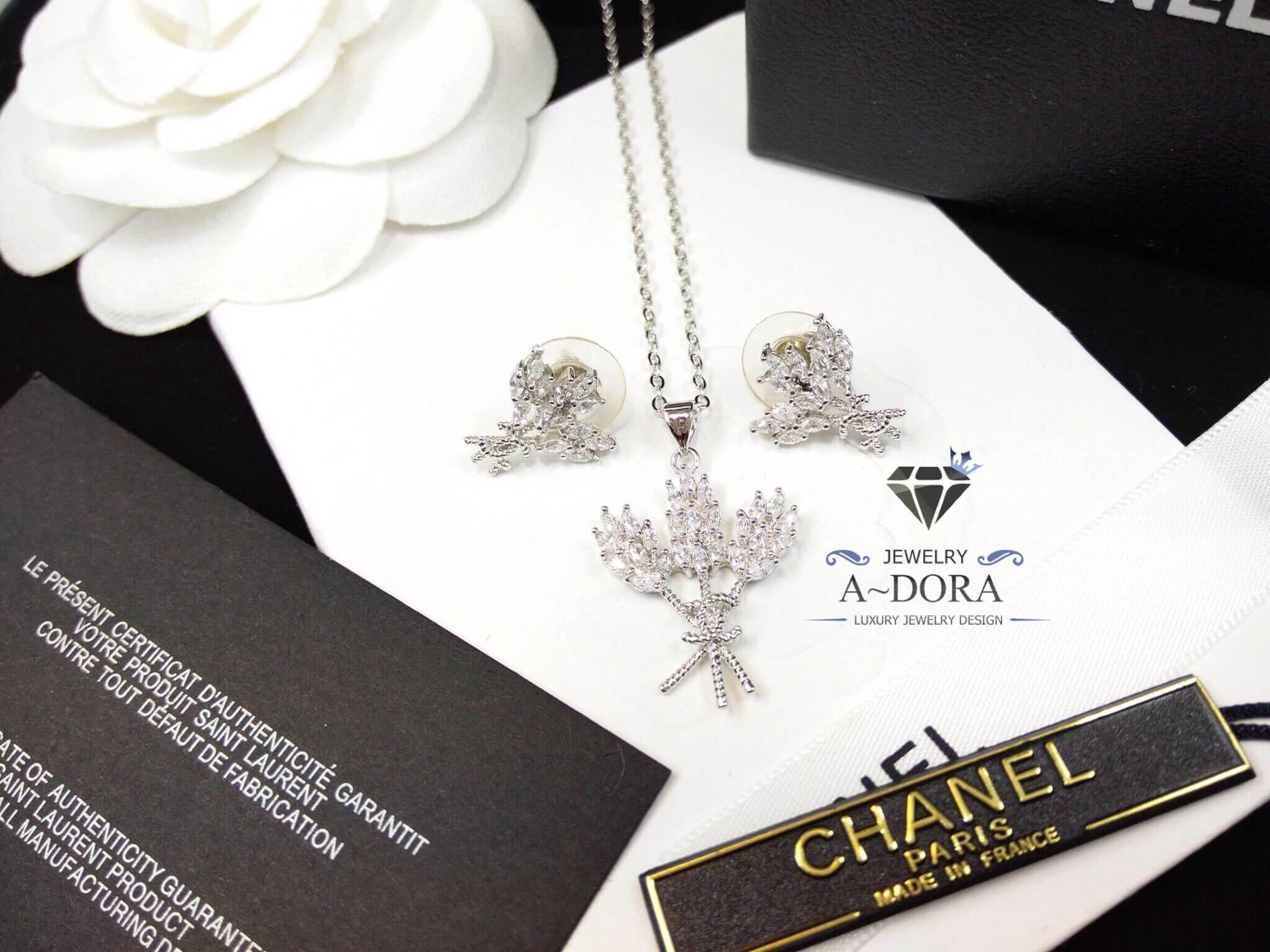 พร้อมส่ง ~ เซ็ทต่างหู & สร้อย Chanel ดีไซด์ทรงรวงข้าว