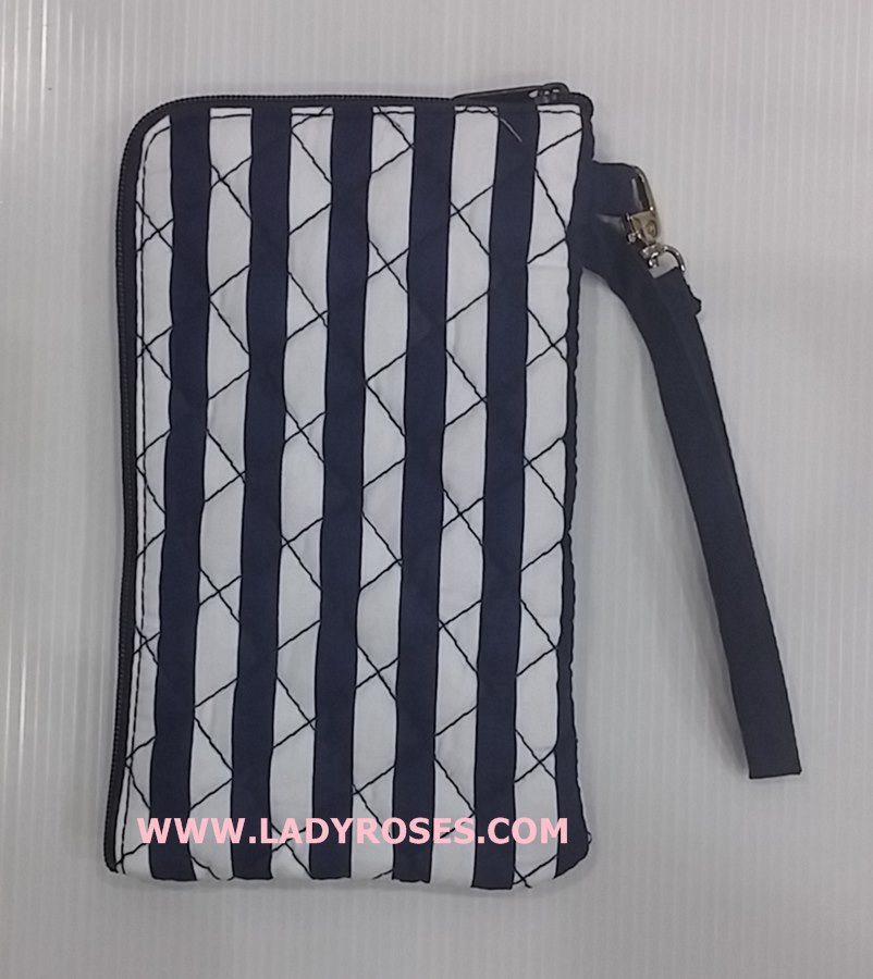 กระเป๋า ใส่โทรศัพท์ นารายา ผ้าคอตตอน ลายทาง สีน้ำเงิน-ขาว ( กระเป๋านารายา กระเป๋าผ้า NaRaYa )