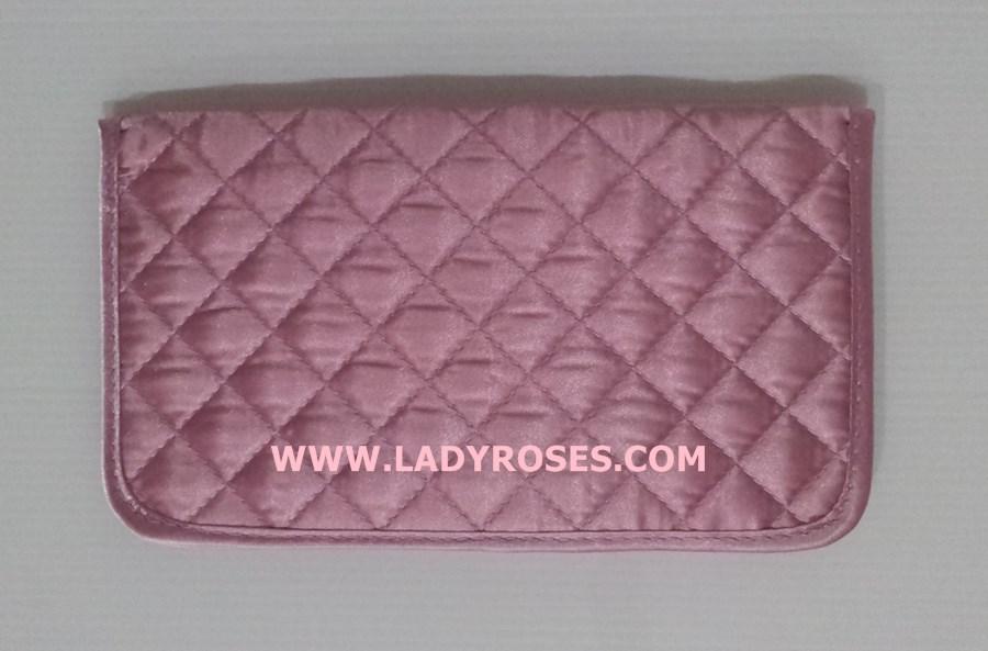กระเป๋าสตางค์ นารายา ผ้าซาตินมัน สีชมพู ( Wallet กระเป๋านารายา กระเป๋าผ้า NaRaYa )