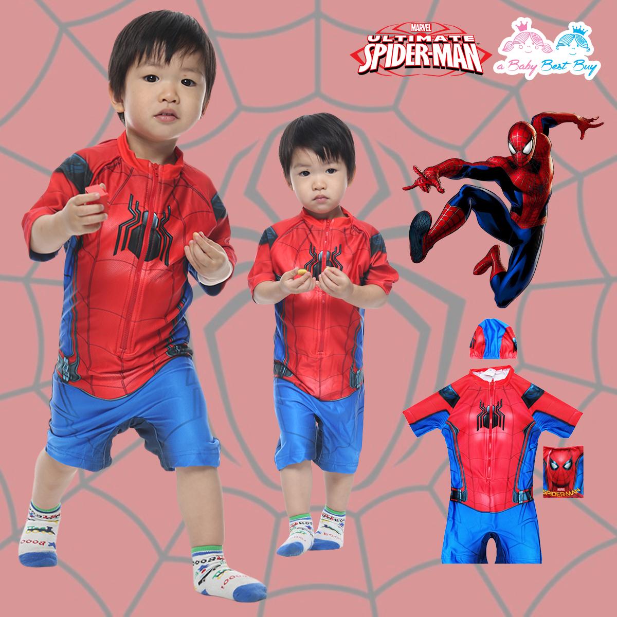 """""""( For Kids ) Swimsuit for Boys Spider-man ชุดว่ายน้ำ เด็กผู้ชาย บอดี้สูท กางเกงขาสั้น มาพร้อมหมวกว่ายน้ำและถุงผ้า สุดเท่ห์ ใส่สบาย ลิขสิทธิ์แท้"""