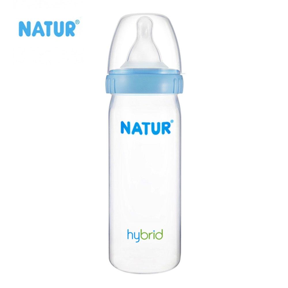 NATUR เนเจอร์ ขวดนม Hybrid รุ่นใหม่ ขวดปากกว้าง ทรงสลิม 8 ออนซ์ BPA Free