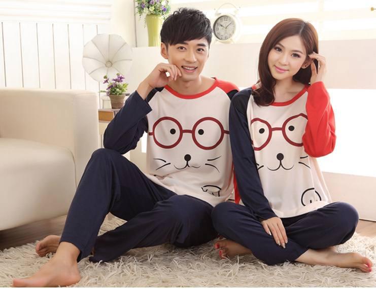 Pre Order ชุดนอนคู่รัก แขนยาว ขายาว ลายน้องเหมียวใส่แว่น