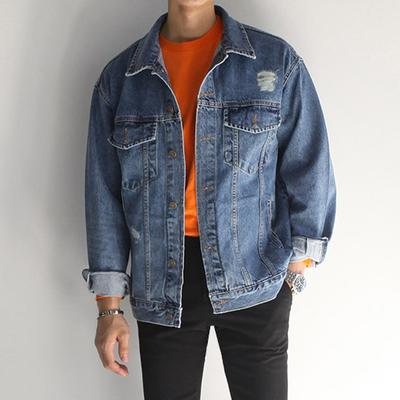 เสื้อแจ็คเก็ตยีนส์เกาหลี แต่งรอยขาดเซอร์ๆ