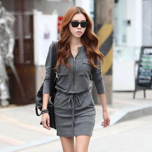 ++สินค้าพร้อมส่งค่ะ++ชุดเดรสแฟชั่นเกาหลี ชุดเดรสสั้น แขนยาว กระเป๋าที่อก 2 ข้าง เอวรูดด้วยเชือก – สีเทา