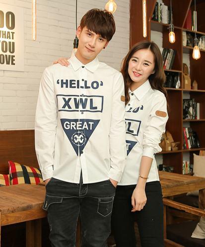 Pre Order เสื้อเชิ้ตคู่รักสไตล์ฮาราจูกุ แขนยาวคอปก สกรีนลายสุดเก๋ มี2สี