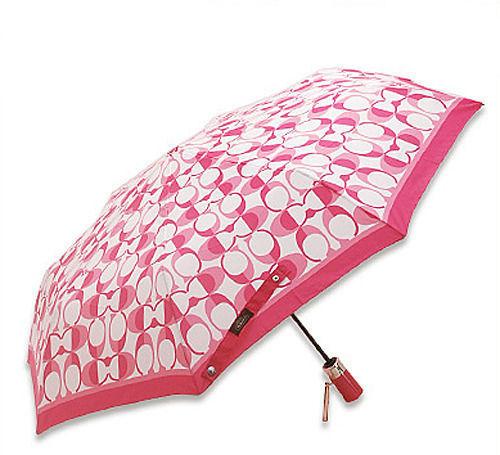 """ร่มกันฝน COACH F66637 SVCK2 Peyton Dream """"C"""" Print Umbrella in White/Pink"""