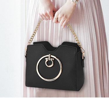 Pre-order ขายส่ง กระเป๋าผู้หญิงถือห่วงกลม ขนาดเล็ก แฟชั่นสไตล์เกาหลี รหัส KO-274 สีดำ