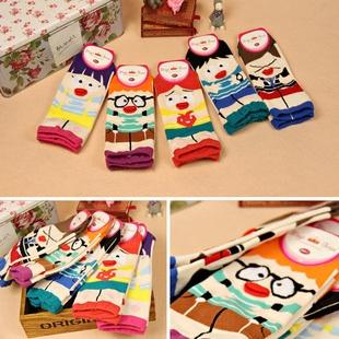 S046**พร้อมส่ง** (ปลีก+ส่ง) ถุงเท้าแฟชั่นเกาหลี ข้อสั้น จมูก3มิติ มี 5 สี เนื้อดี งานนำเข้า(Made in china)