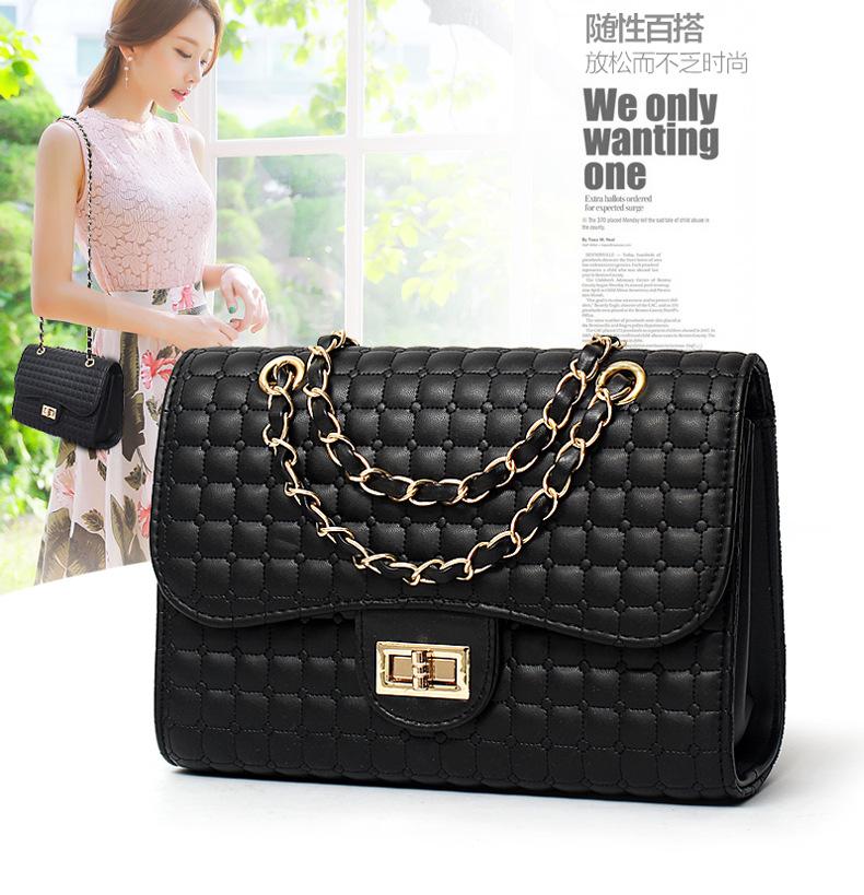 Pre-order กระเป๋าผู้หญิงสะพายข้างสายโซ่ ทรงกล่องเย็บลายตารางสไตล์ Chanel แฟชั่นเกาหลี รหัส Yi-419สีดำ