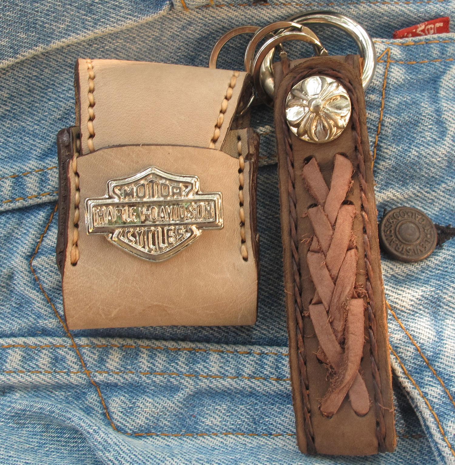 พวกกุญแจหนังวัวแท้ถัก + ซองใส่ ไฟเช็ค ( ฟรี ! ไฟเช็ค )