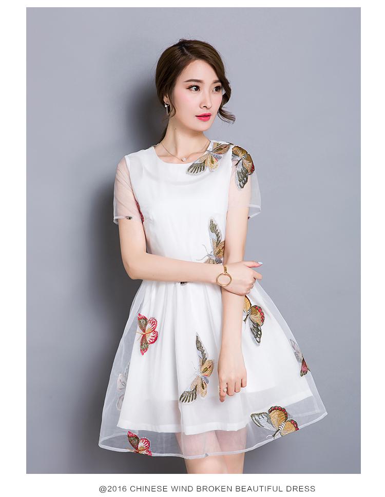 ชุดเดรสสั้นเกาหลี ผ้าไหมแก้ว organza สีขาว ปักลายผีเสื้อ เดรสเข้ารูปช่วงเอว