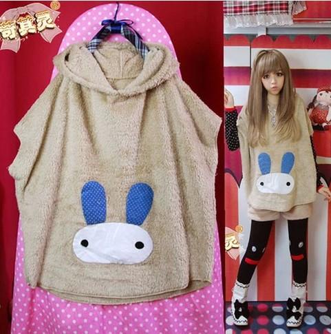 [พรีออเดอร์] ชุดเสื้อคลุมน่ารัก เสื้อกันหนาวหูกระต่ายสีขาว
