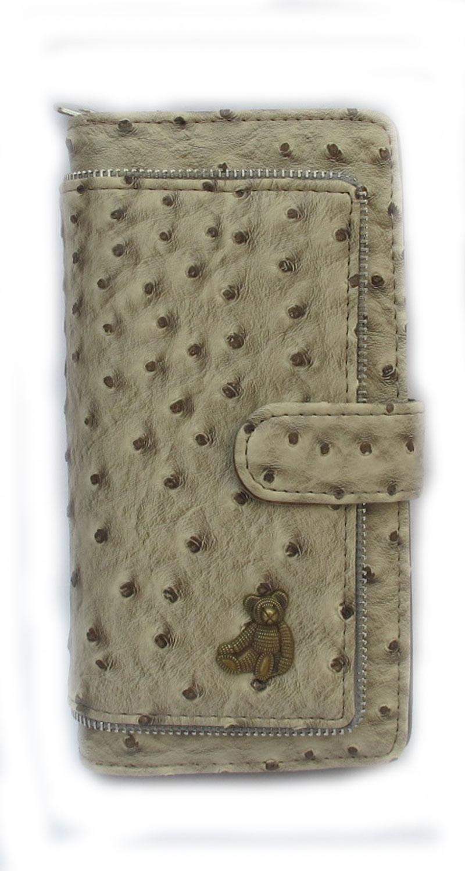 กระเป๋าสตางค์รูปทรงยาว หนังเทียมลายอัดเป็นลายนกกระจอกเทศคุ้ม เพราะมีช่องใส่บัตรเครดิต หรือบัตรต่างๆหลายช่อง