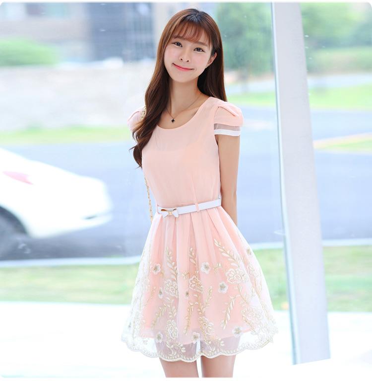 ชุดเดรสสวยๆ ผ้าชีฟองเนื้อดี แขนสั้น สีชมพูโอรส