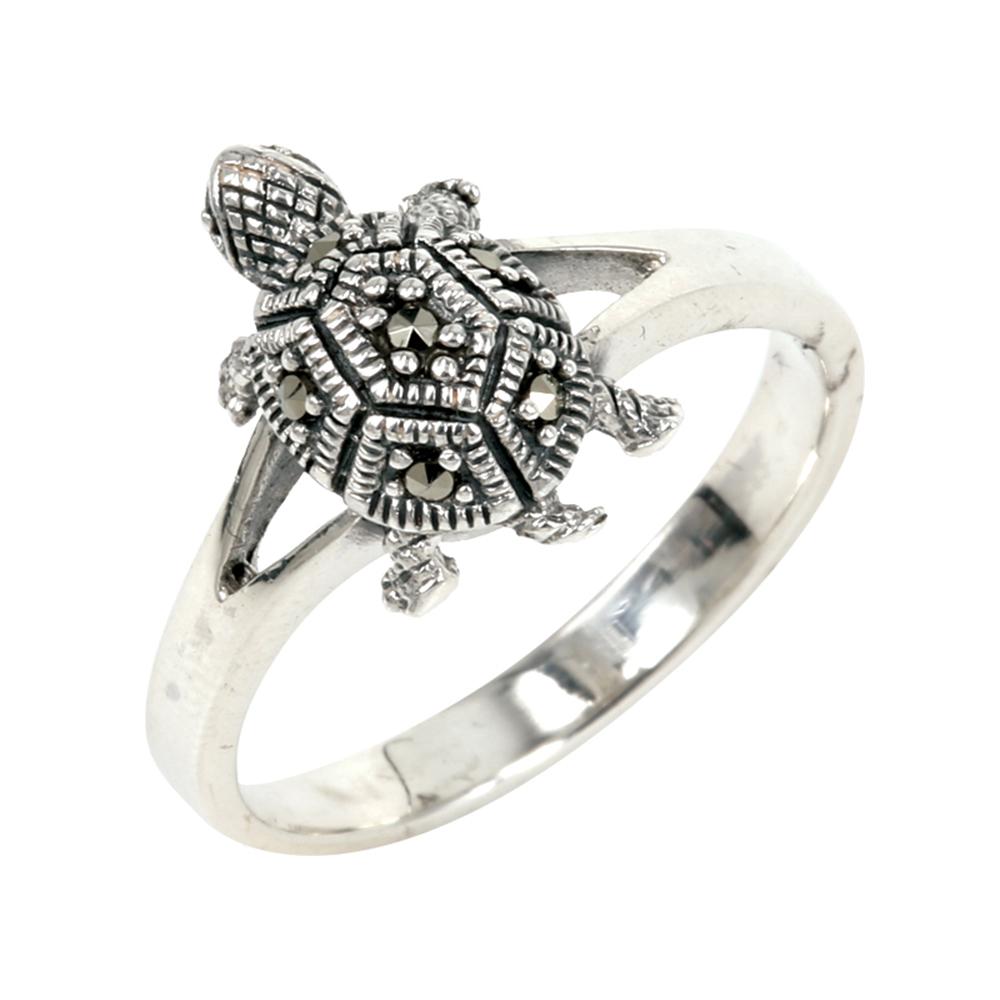 แหวนเต่าเสริมดวงนำโชค แหวนเงินแท้ประดับมาร์คาไซท์