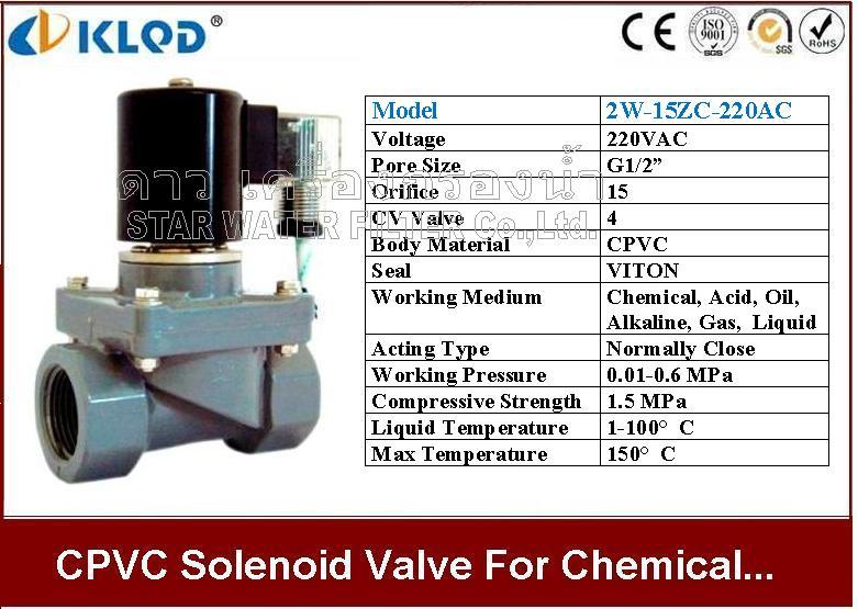 CPVC Solenoid valve ทนความร้อน และ สารเคมี 1/2 นิ้ว 220VAC KLOD