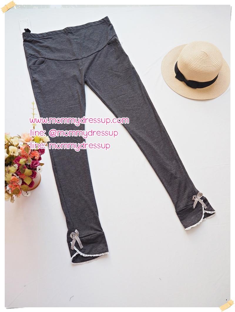 กางเกงเลกกิ้ง ขายาว สีเทาดำ มีโบว์ มีสายปรับระดับได้ ผ้านิ่ม ยืด ใส่สบายน่ารักมากๆค่ะ