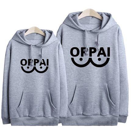 เสื้อฮู้ดกันหนาวไซตามะ One Punch Man(OPPAI)**สีเทา**