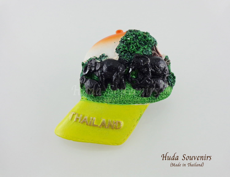 ของที่ระลึกไทย แม่เหล็กติดตู้เย็น ลวดลายช้าง รูปทรงหมวกแก๊ป