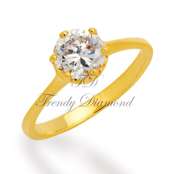 แหวนเพชร แหวนเพชรเม็ดเดี่ยว 6 มม. สีทอง