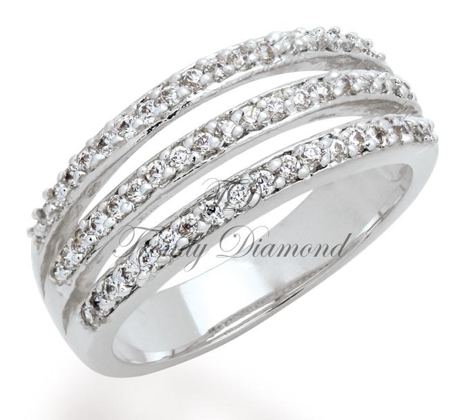 แหวนเพชรCZ เพชรสวิส แหวน Skyline สีทองคำขาว
