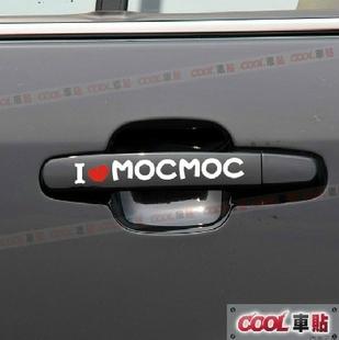 สติ๊กเกอร์ติดรถยนต์ ตรงมือเปิดประตู MOCMOC แบบ2 (1pack/4ชิ้น) 12x3cm