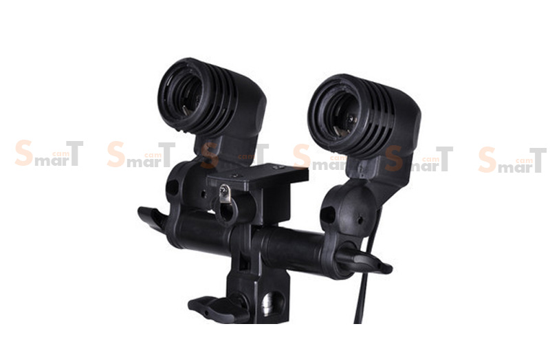 Continuous Lighting E27 Dual Bulb Holder with Umbrella Light Holder