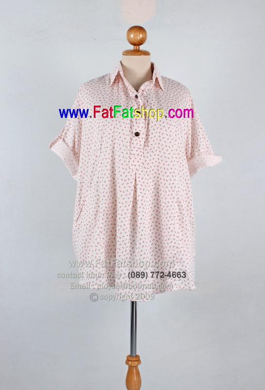 fa003-62-เสื้อคนอ้วน ผ้าcotton เนื้อนิ่มใส่สบาย สีขาวพิมพ์ลายโบว์แดง สไตล์เชิ้ต ช่วงแขนพับขึ้นมาน่ารักๆ ใส่สบายๆ ค่ะ รอบอก 62 นิ้ว