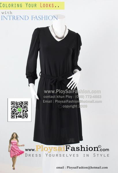 bw294 - ชุดเดรสดำ ผ้าเกาหลีสีดำสนิท คอวีแขนยาว ผ้าผูกแต่งโบว์แยกชิ้น สวยเรียบร้อยสุดๆเลยค่ะ