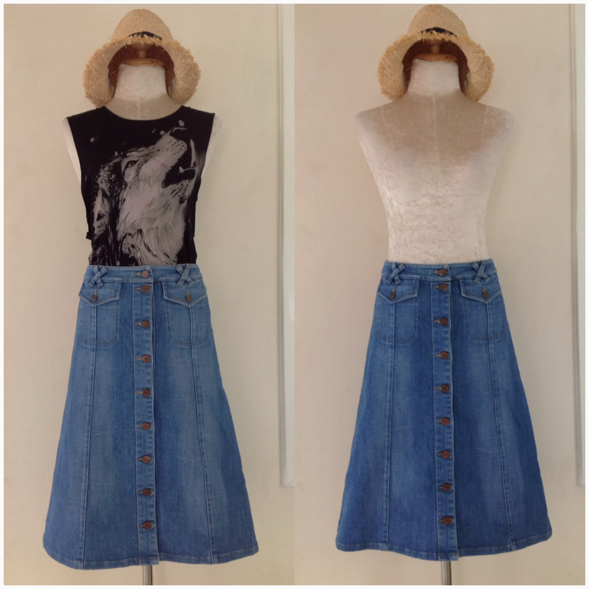 Topshop Moto Denim skirt size uk8-uk10