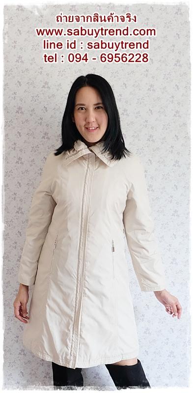 ((ขายแล้วครับ))ca-2576 เสื้อโค้ทกันหนาวผ้าร่มสีครีม รอบอก38