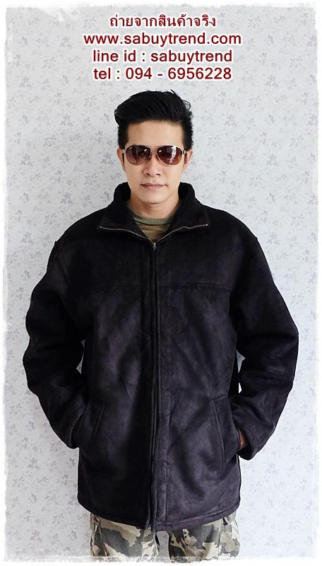 ((ขายแล้วครับ))((จองแล้วครับ))cm-98 เสื้อแจ๊คเก็ตกันหนาวผ้าชามัวร์สีดำ รอบอก51
